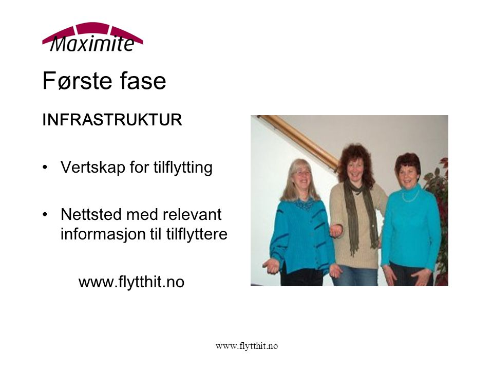 www.flytthit.no Første fase INFRASTRUKTUR •Vertskap for tilflytting •Nettsted med relevant informasjon til tilflyttere www.flytthit.no