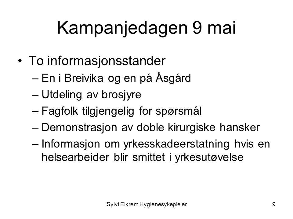 Sylvi Eikrem Hygienesykepleier9 Kampanjedagen 9 mai •To informasjonsstander –En i Breivika og en på Åsgård –Utdeling av brosjyre –Fagfolk tilgjengelig