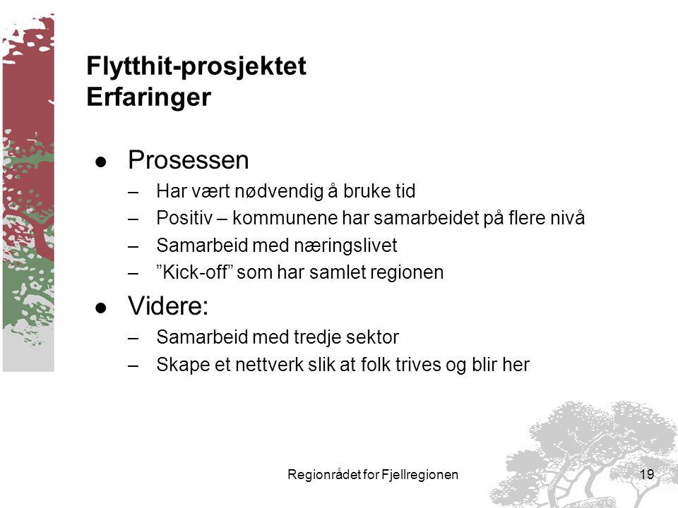 Regionrådet for Fjellregionen18 Flytthit-prosjektet Viktig Offentlig sektor Privat sektor Tredje sektor