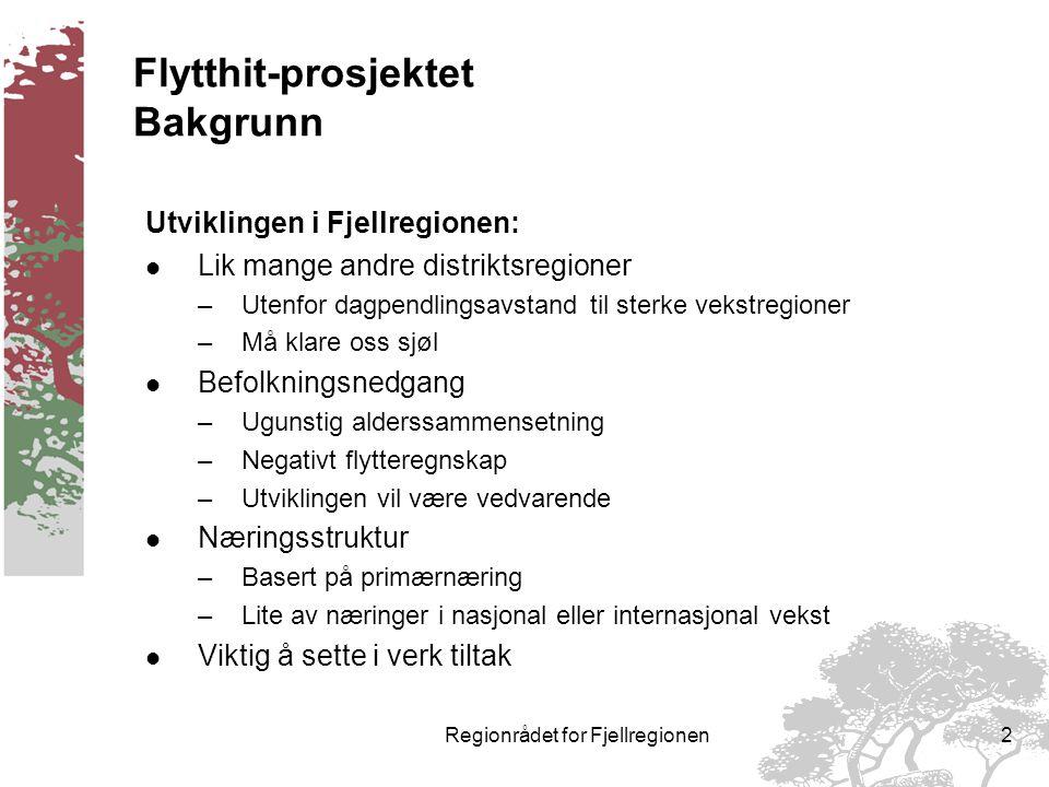 REGIONRÅDET FOR FJELLREGIONEN FLYTTHIT - prosjektet i Fjellregionen Et regionalt samarbeid