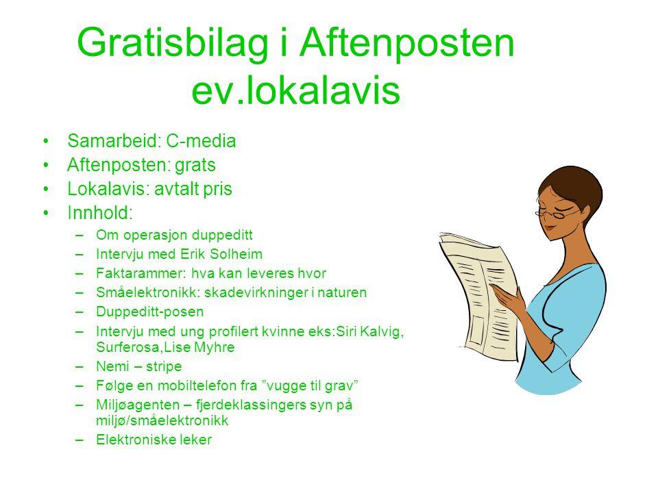 Gratisbilag i Aftenposten ev.lokalavis •Samarbeid: C-media •Aftenposten: grats •Lokalavis: avtalt pris •Innhold: –Om operasjon duppeditt –Intervju med