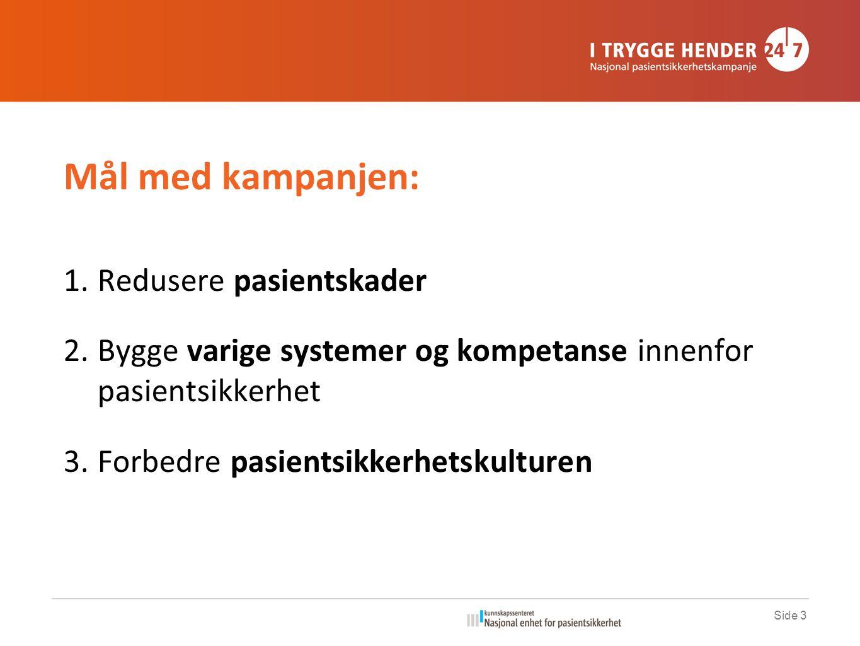 Mål med kampanjen: 1.Redusere pasientskader 2.Bygge varige systemer og kompetanse innenfor pasientsikkerhet 3.Forbedre pasientsikkerhetskulturen Side 3