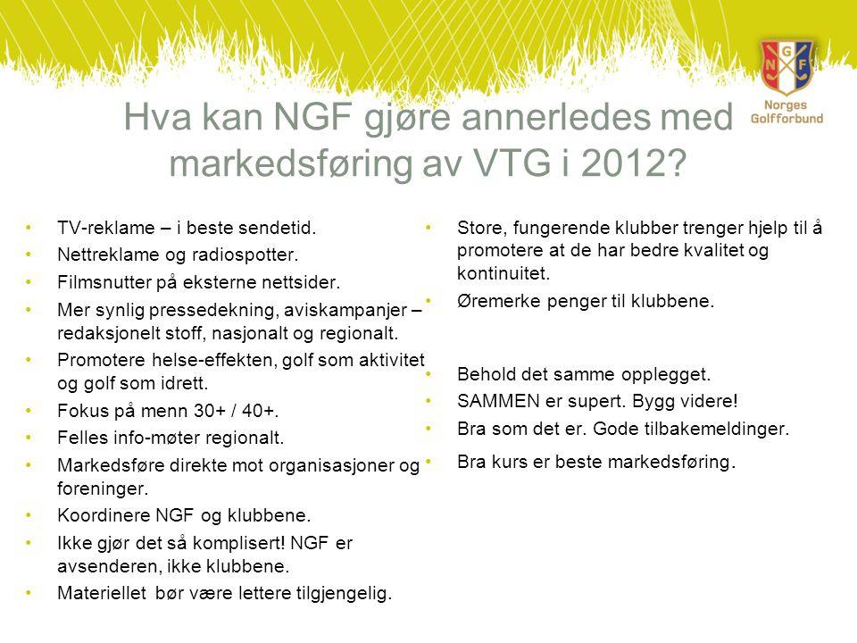 Hva kan NGF gjøre annerledes med markedsføring av VTG i 2012? •TV-reklame – i beste sendetid. •Nettreklame og radiospotter. •Filmsnutter på eksterne n