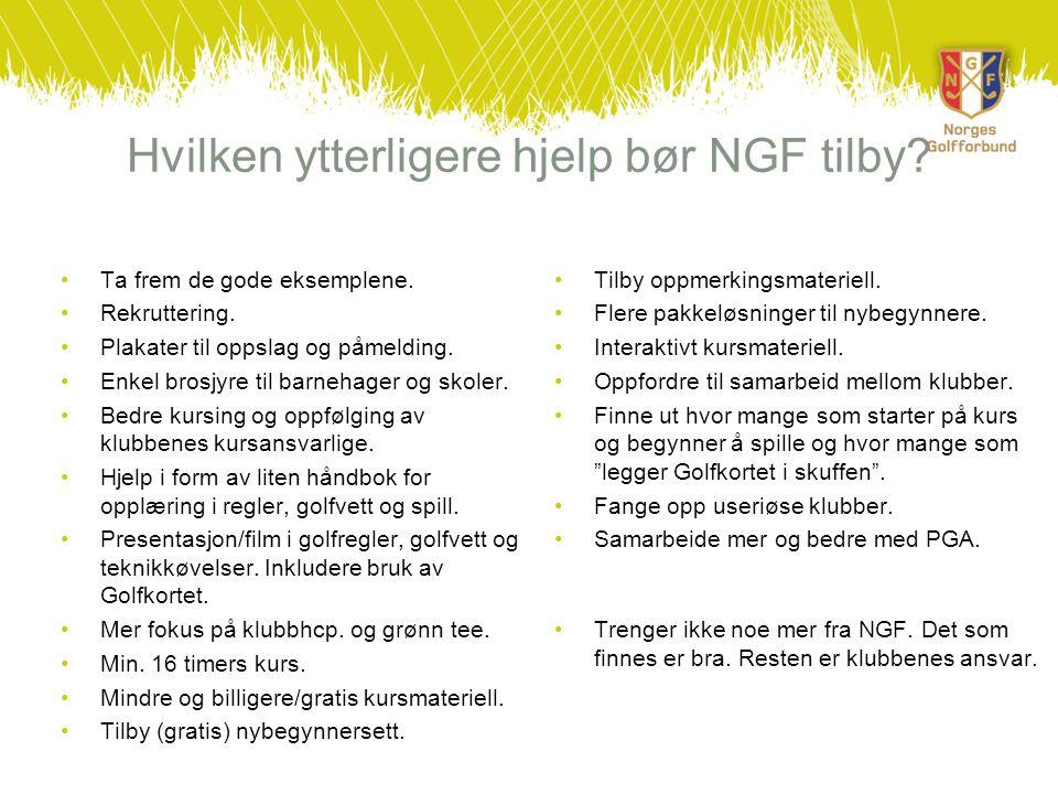 Hvilken ytterligere hjelp bør NGF tilby? •Ta frem de gode eksemplene. •Rekruttering. •Plakater til oppslag og påmelding. •Enkel brosjyre til barnehage