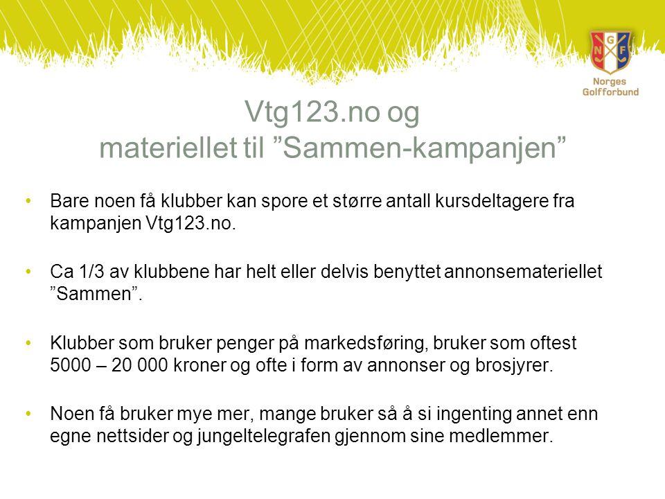 """Vtg123.no og materiellet til """"Sammen-kampanjen"""" •Bare noen få klubber kan spore et større antall kursdeltagere fra kampanjen Vtg123.no. •Ca 1/3 av klu"""