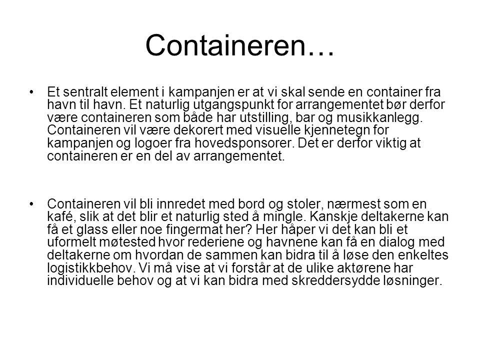 Containeren… •Et sentralt element i kampanjen er at vi skal sende en container fra havn til havn. Et naturlig utgangspunkt for arrangementet bør derfo