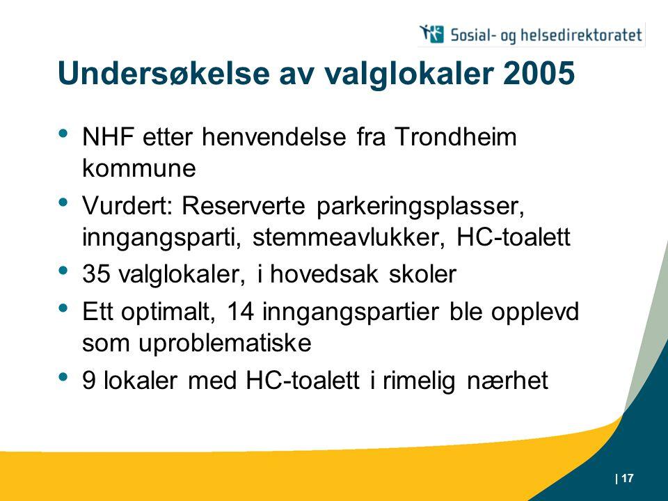 | 17 Undersøkelse av valglokaler 2005 • NHF etter henvendelse fra Trondheim kommune • Vurdert: Reserverte parkeringsplasser, inngangsparti, stemmeavlukker, HC-toalett • 35 valglokaler, i hovedsak skoler • Ett optimalt, 14 inngangspartier ble opplevd som uproblematiske • 9 lokaler med HC-toalett i rimelig nærhet