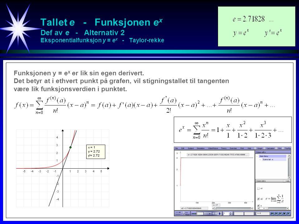 Tallet e - Funksjonen e x Def av e - Alternativ 2 Eksponentialfunksjon y = e x - Taylor-rekke http://folk.uio.no/fredrme/ullern/eksponential.pdf Funksjonen y = e x er lik sin egen derivert.