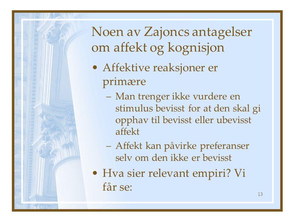 Noen av Zajoncs antagelser om affekt og kognisjon •Affektive reaksjoner er primære –Man trenger ikke vurdere en stimulus bevisst for at den skal gi opphav til bevisst eller ubevisst affekt –Affekt kan påvirke preferanser selv om den ikke er bevisst •Hva sier relevant empiri.