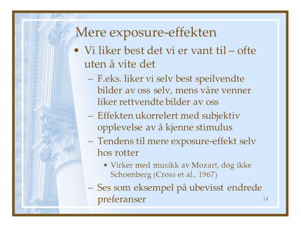 Mere exposure-effekten •Vi liker best det vi er vant til – ofte uten å vite det –F.eks.