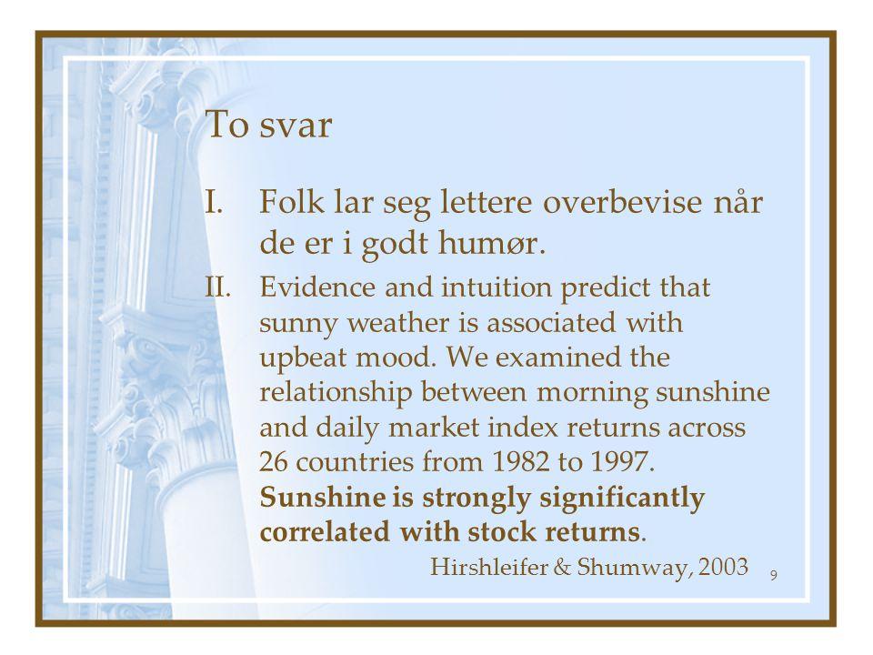 To svar I.Folk lar seg lettere overbevise når de er i godt humør. II.Evidence and intuition predict that sunny weather is associated with upbeat mood.