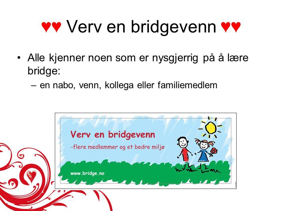 ♥♥ Verv en bridgevenn ♥♥ •Alle kjenner noen som er nysgjerrig på å lære bridge: –en nabo, venn, kollega eller familiemedlem