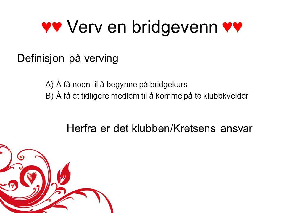 ♥♥ Verv en bridgevenn ♥♥ Definisjon på verving A)Å få noen til å begynne på bridgekurs B)Å få et tidligere medlem til å komme på to klubbkvelder Herfr