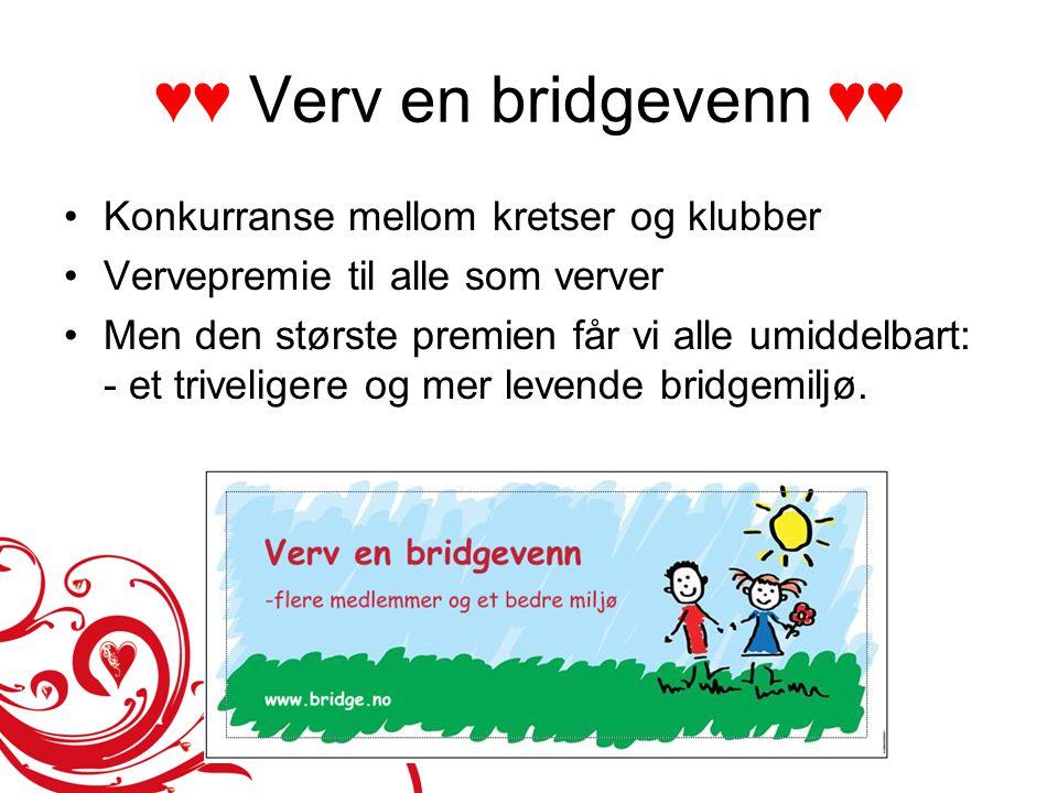 ♥♥ Verv en bridgevenn ♥♥ •Konkurranse mellom kretser og klubber •Vervepremie til alle som verver •Men den største premien får vi alle umiddelbart: - e
