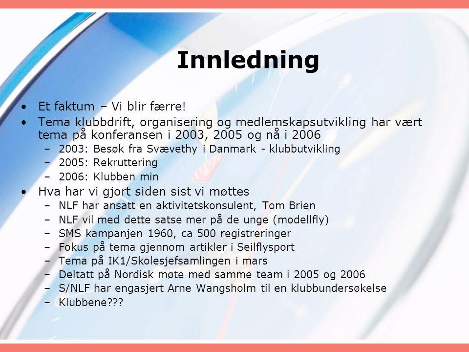 Innledning •Et faktum – Vi blir færre! •Tema klubbdrift, organisering og medlemskapsutvikling har vært tema på konferansen i 2003, 2005 og nå i 2006 –