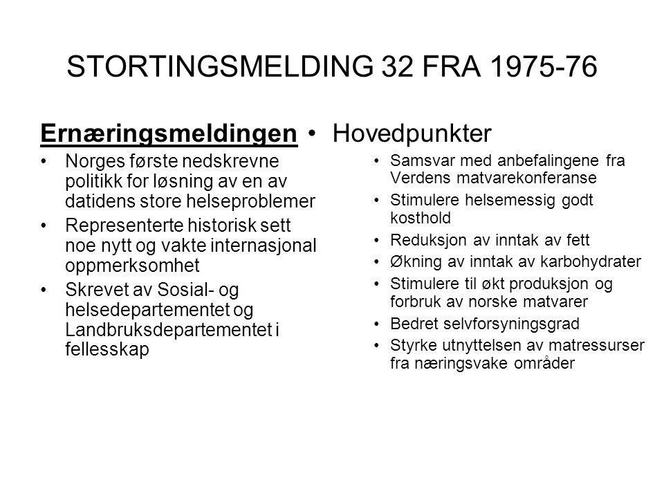STORTINGSMELDING 32 FRA 1975-76 Ernæringsmeldingen •Norges første nedskrevne politikk for løsning av en av datidens store helseproblemer •Representert