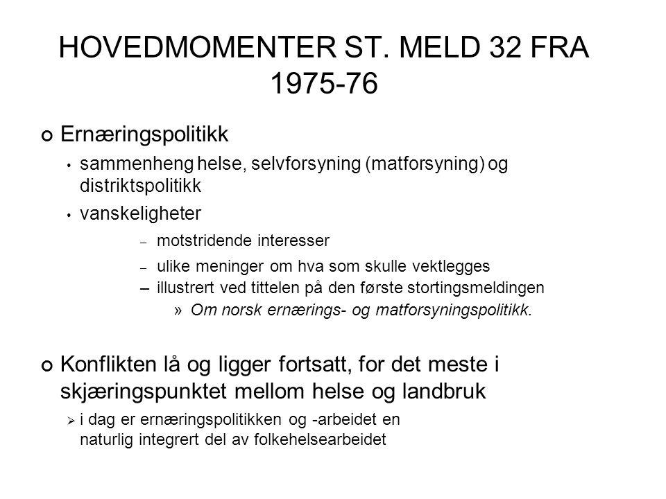 HOVEDMOMENTER ST. MELD 32 FRA 1975-76 Ernæringspolitikk • sammenheng helse, selvforsyning (matforsyning) og distriktspolitikk • vanskeligheter – motst