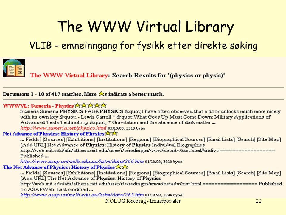 NOLUG foredrag - Emneportaler22 The WWW Virtual Library VLIB - emneinngang for fysikk etter direkte søking