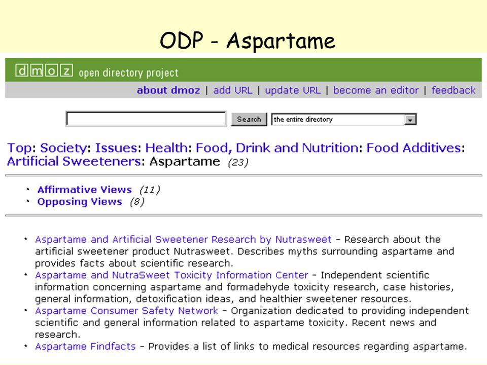 NOLUG foredrag - Emneportaler30 ODP - Aspartame