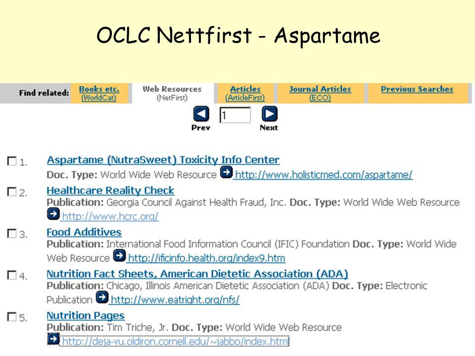 NOLUG foredrag - Emneportaler31 OCLC Nettfirst - Aspartame