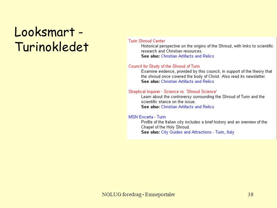 NOLUG foredrag - Emneportaler38 Looksmart - Turinokledet