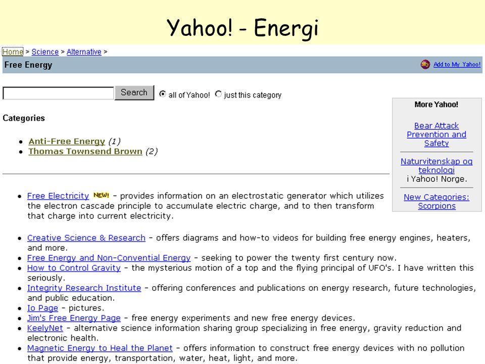 NOLUG foredrag - Emneportaler47 Yahoo! - Energi