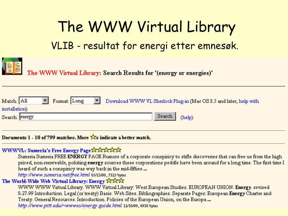 NOLUG foredrag - Emneportaler49 The WWW Virtual Library VLIB - resultat for energi etter emnesøk.