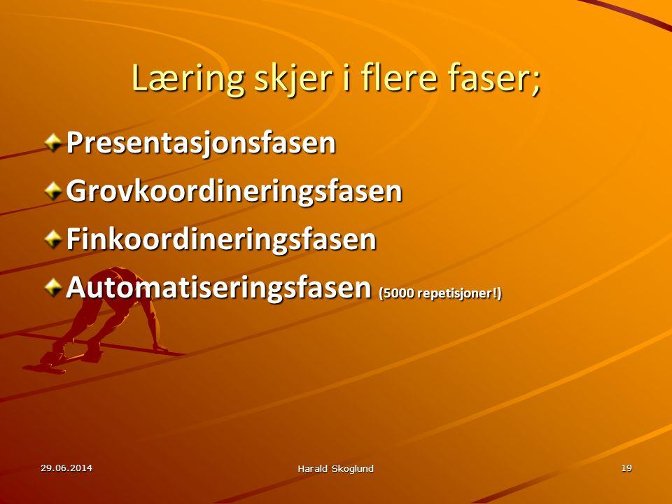 Læring skjer i flere faser; PresentasjonsfasenGrovkoordineringsfasenFinkoordineringsfasen Automatiseringsfasen (5000 repetisjoner!) 29.06.2014 Harald