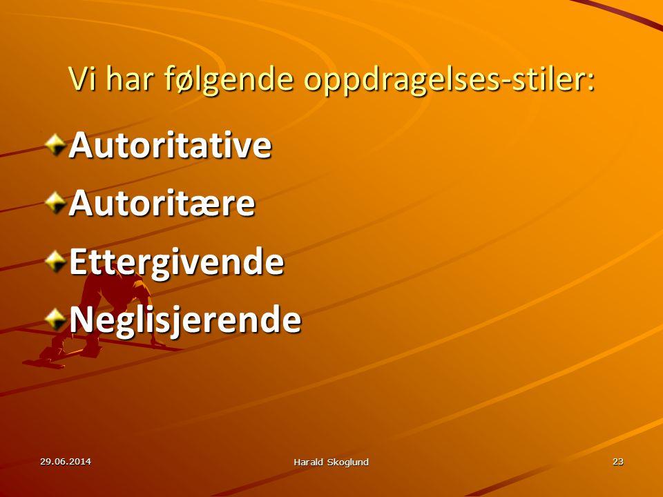 29.06.2014 Harald Skoglund 23 Vi har følgende oppdragelses-stiler: AutoritativeAutoritæreEttergivendeNeglisjerende