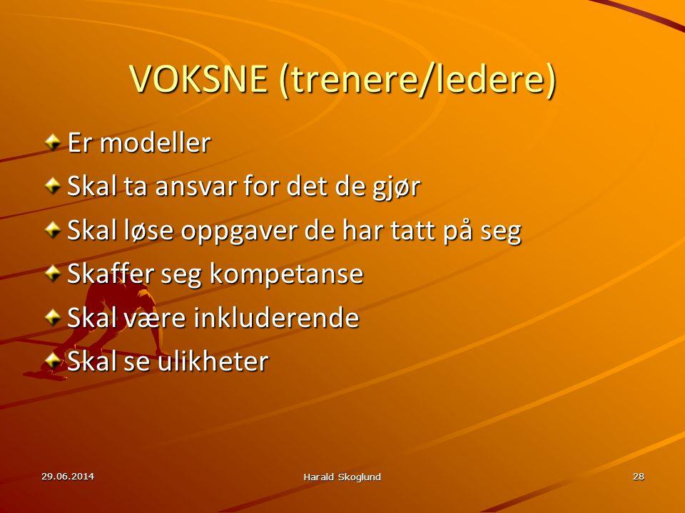 29.06.2014 Harald Skoglund 28 VOKSNE (trenere/ledere) Er modeller Skal ta ansvar for det de gjør Skal løse oppgaver de har tatt på seg Skaffer seg kom