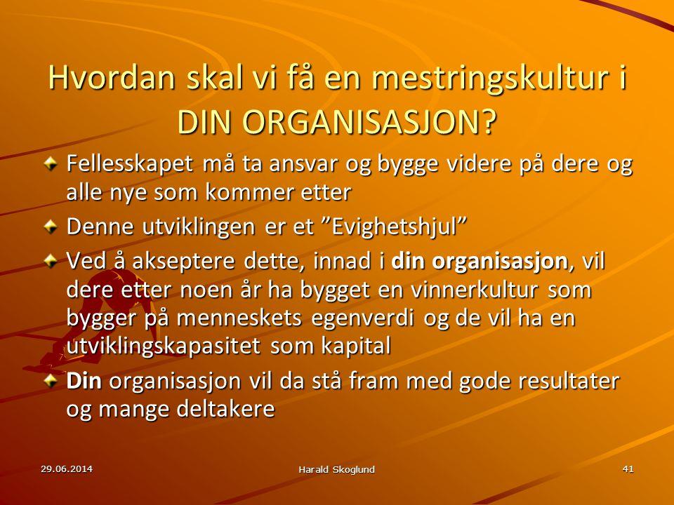 29.06.2014 Harald Skoglund 41 Hvordan skal vi få en mestringskultur i DIN ORGANISASJON? Fellesskapet må ta ansvar og bygge videre på dere og alle nye