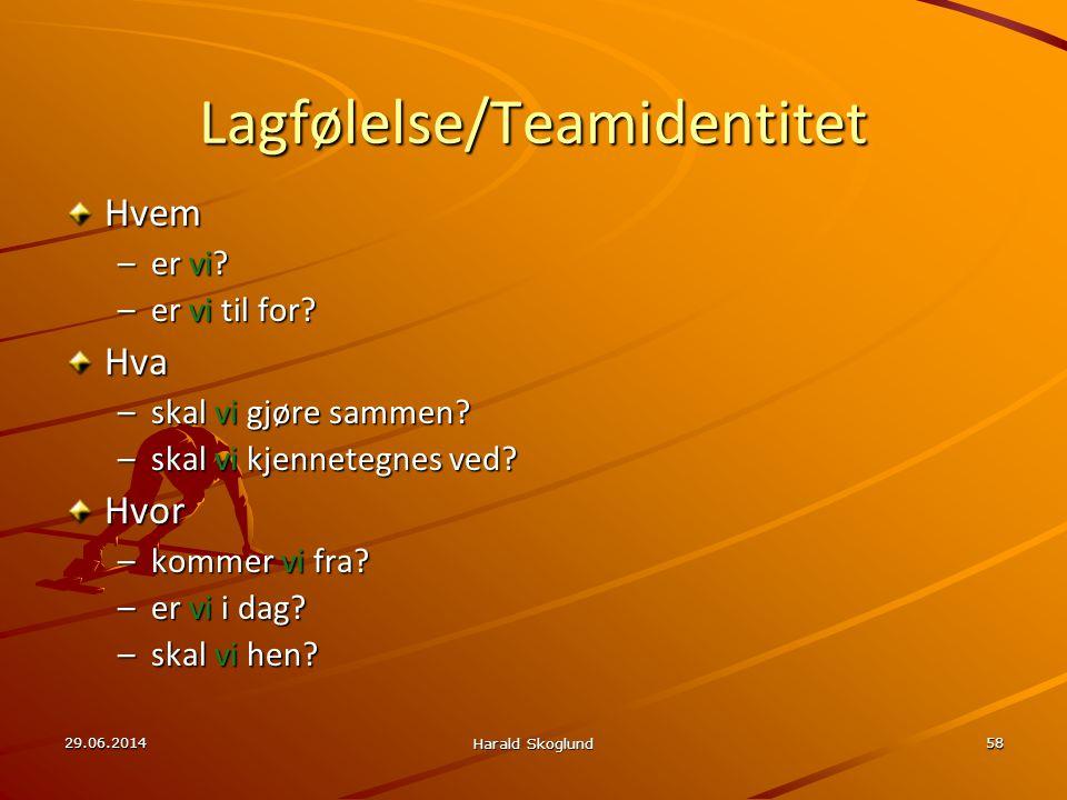29.06.2014 Harald Skoglund 58 Lagfølelse/Teamidentitet Hvem –er vi? –er vi til for? Hva –skal vi gjøre sammen? –skal vi kjennetegnes ved? Hvor –kommer