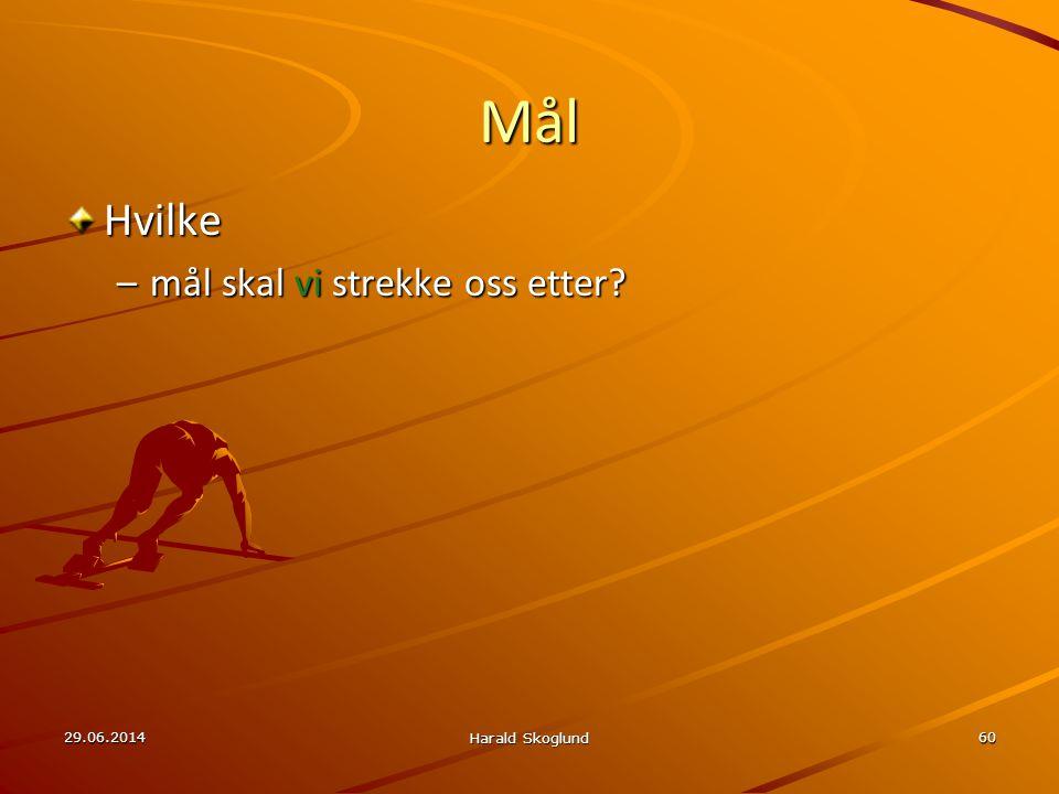 29.06.2014 Harald Skoglund 60 Mål Hvilke –mål skal vi strekke oss etter?