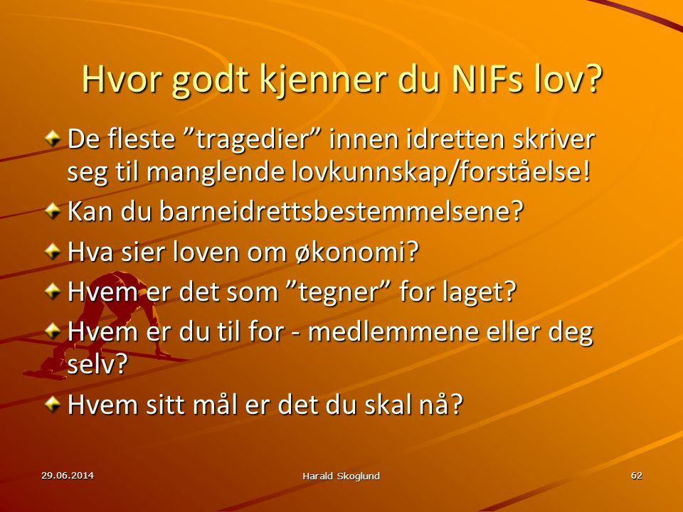 """29.06.2014 Harald Skoglund 62 Hvor godt kjenner du NIFs lov? De fleste """"tragedier"""" innen idretten skriver seg til manglende lovkunnskap/forståelse! Ka"""