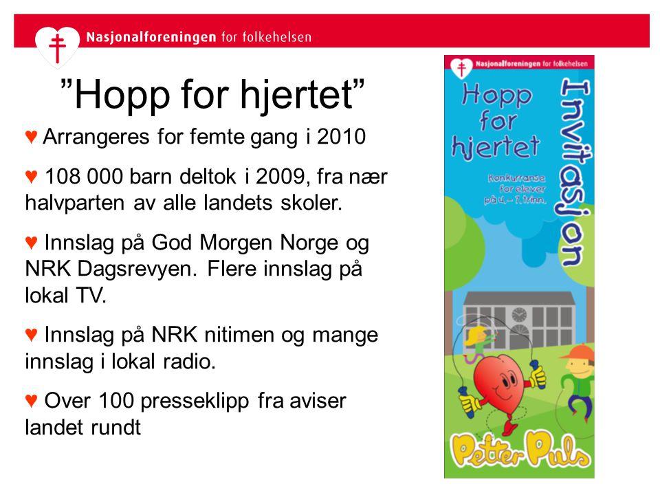 """""""Hopp for hjertet"""" ♥ Arrangeres for femte gang i 2010 ♥ 108 000 barn deltok i 2009, fra nær halvparten av alle landets skoler. ♥ Innslag på God Morgen"""