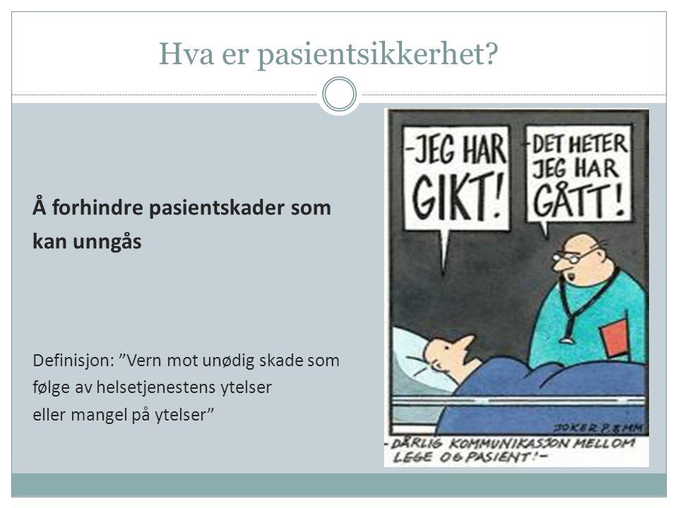 """Hva er pasientsikkerhet? Å forhindre pasientskader som kan unngås Definisjon: """"Vern mot unødig skade som følge av helsetjenestens ytelser eller mangel"""