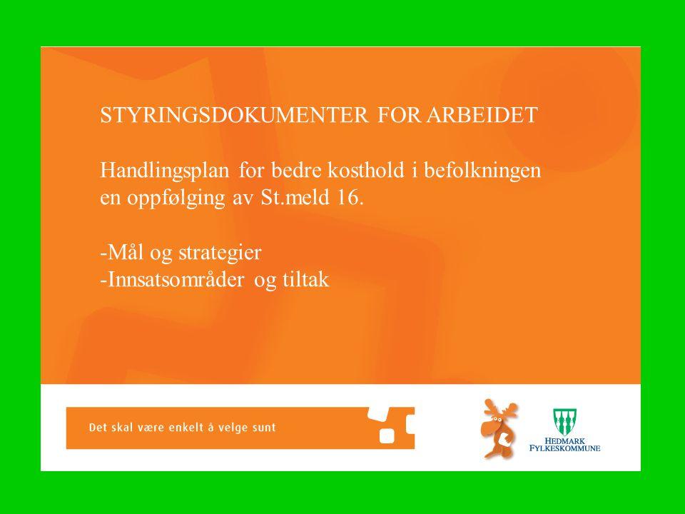 STYRINGSDOKUMENTER FOR ARBEIDET Handlingsplan for bedre kosthold i befolkningen en oppfølging av St.meld 16.