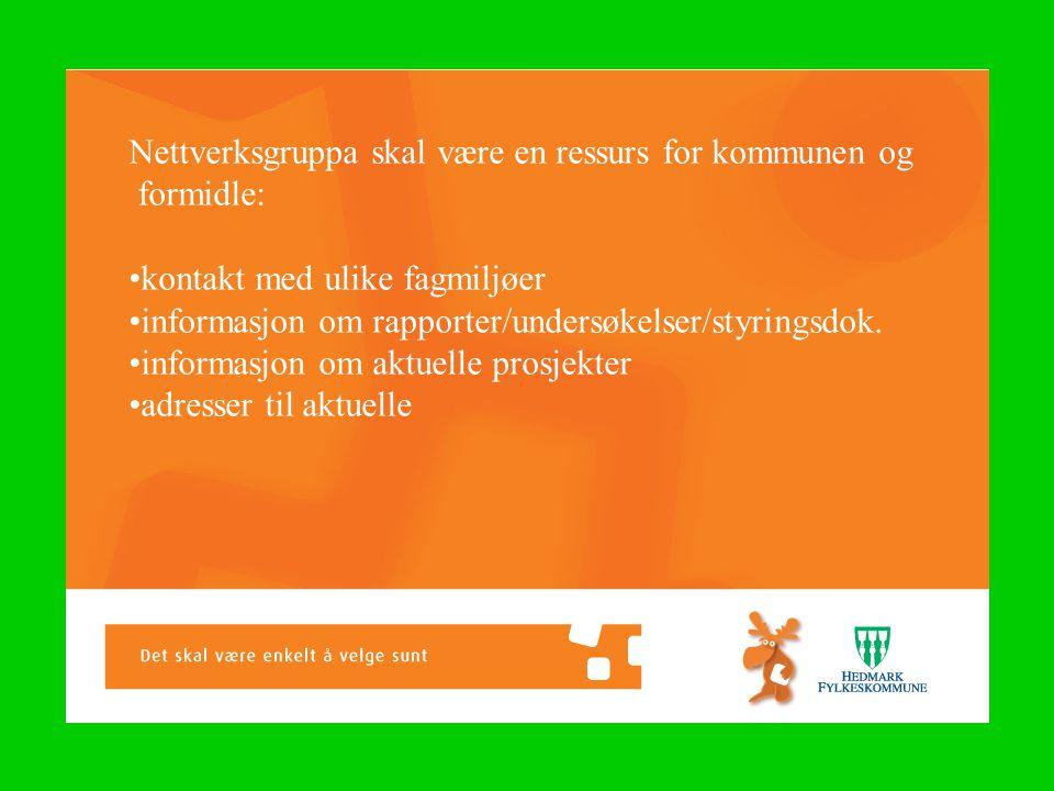 Nettverksgruppa skal være en ressurs for kommunen og formidle: •kontakt med ulike fagmiljøer •informasjon om rapporter/undersøkelser/styringsdok.