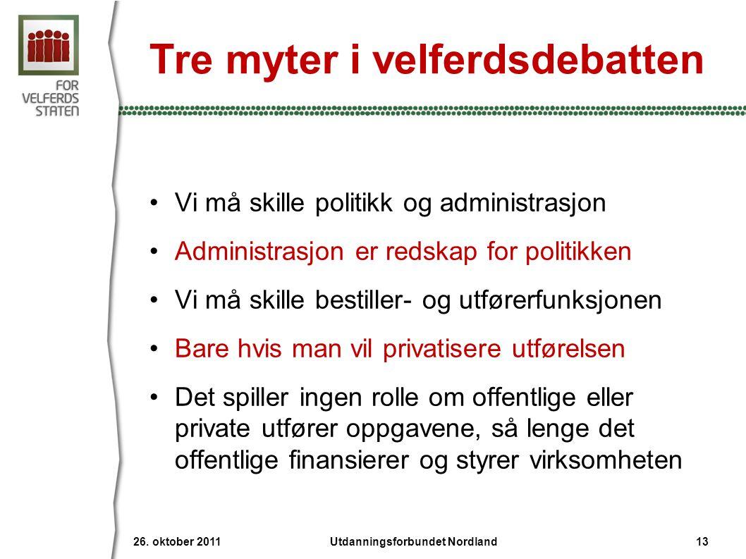 Tre myter i velferdsdebatten •Vi må skille politikk og administrasjon •Administrasjon er redskap for politikken •Vi må skille bestiller- og utførerfun