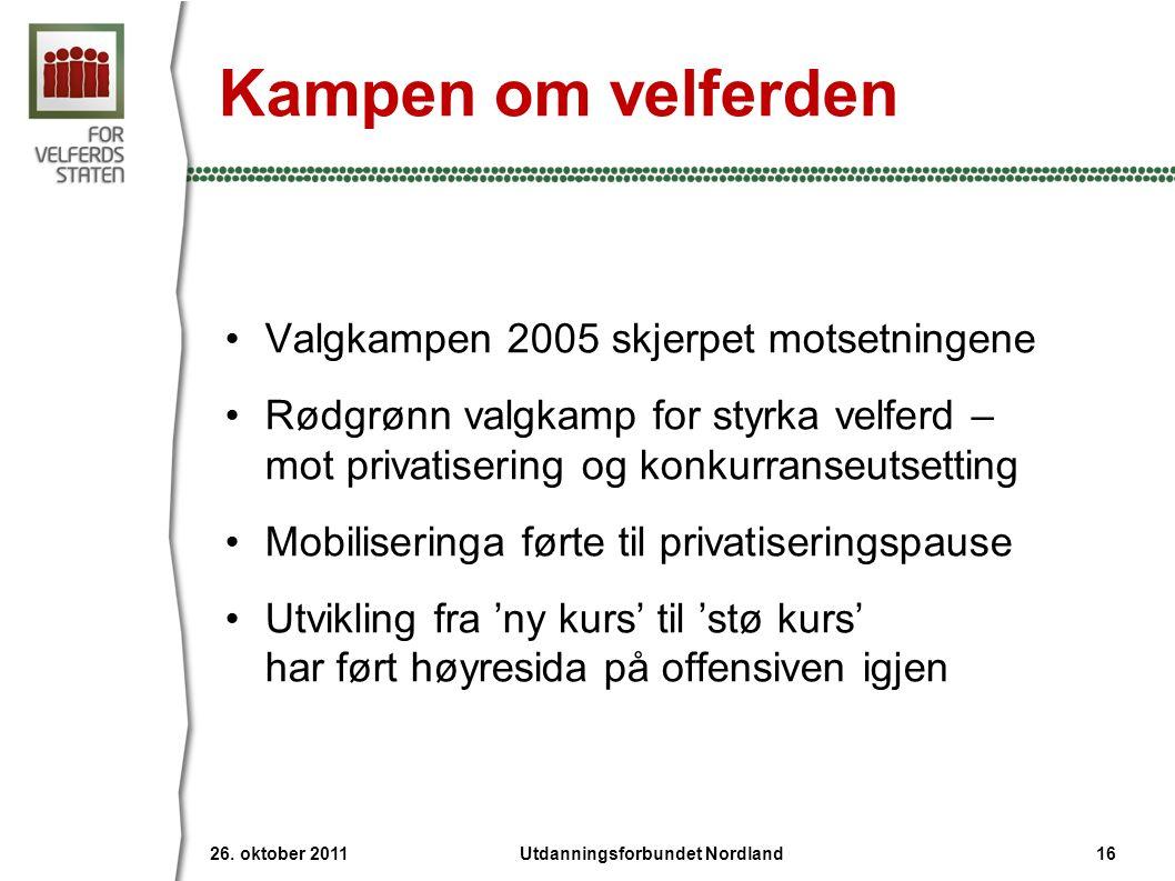 Kampen om velferden •Valgkampen 2005 skjerpet motsetningene •Rødgrønn valgkamp for styrka velferd – mot privatisering og konkurranseutsetting •Mobilis