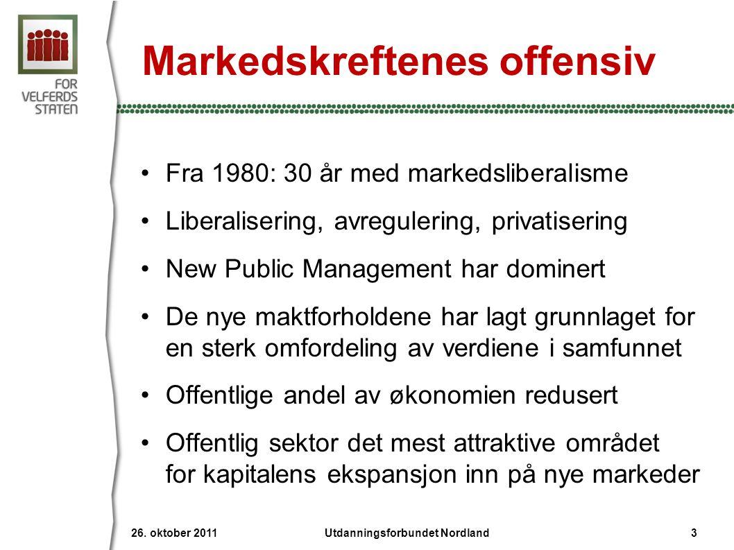 Markedskreftenes offensiv •Fra 1980: 30 år med markedsliberalisme •Liberalisering, avregulering, privatisering •New Public Management har dominert •De