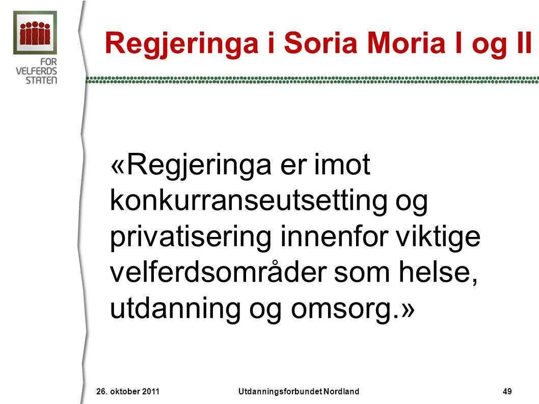 Regjeringa i Soria Moria I og II «Regjeringa er imot konkurranseutsetting og privatisering innenfor viktige velferdsområder som helse, utdanning og omsorg.» 26.