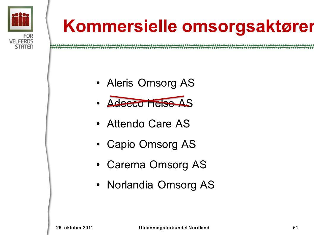 Kommersielle omsorgsaktører •Aleris Omsorg AS •Adecco Helse AS •Attendo Care AS •Capio Omsorg AS •Carema Omsorg AS •Norlandia Omsorg AS 26.
