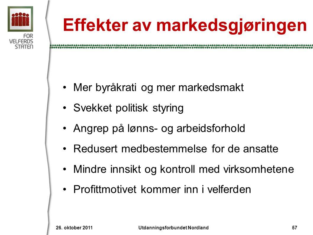 Effekter av markedsgjøringen •Mer byråkrati og mer markedsmakt •Svekket politisk styring •Angrep på lønns- og arbeidsforhold •Redusert medbestemmelse