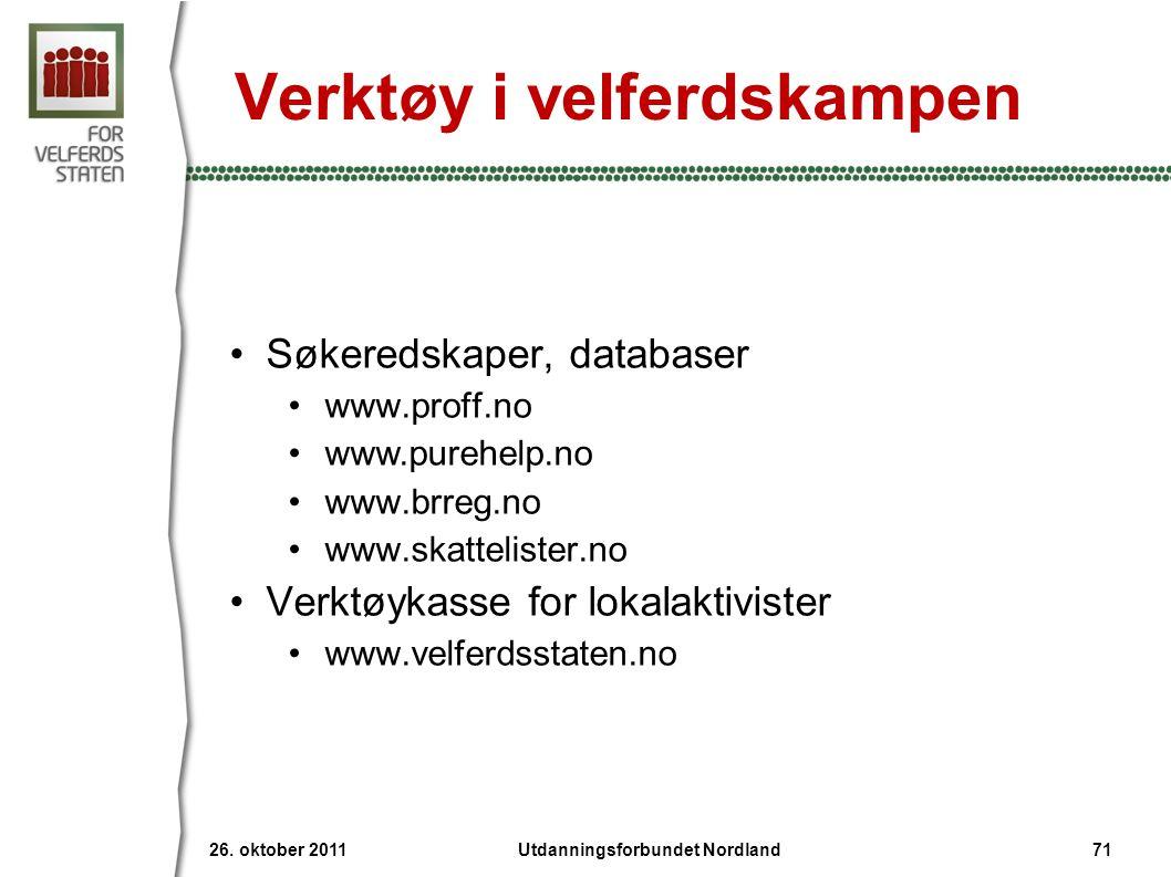 Verktøy i velferdskampen •Søkeredskaper, databaser •www.proff.no •www.purehelp.no •www.brreg.no •www.skattelister.no •Verktøykasse for lokalaktivister