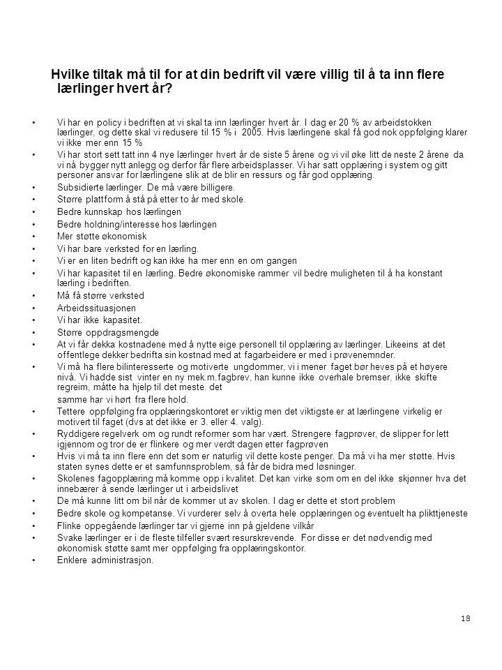 18 Hvilke tiltak må til for at din bedrift vil være villig til å ta inn flere lærlinger hvert år? •Vi har en policy i bedriften at vi skal ta inn lærl