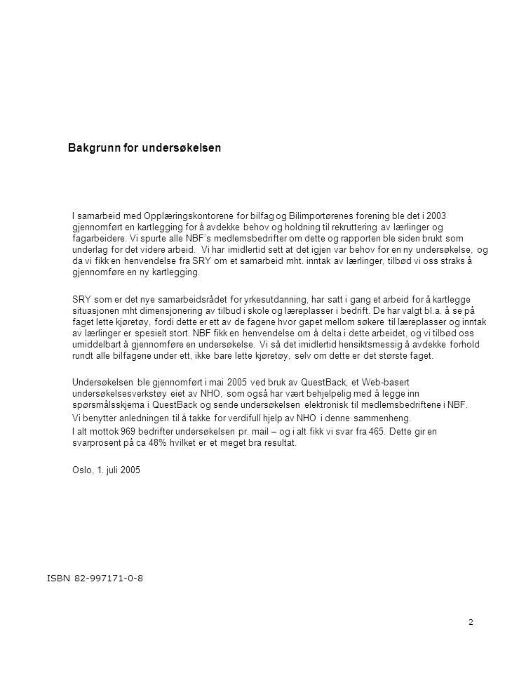 2 Bakgrunn for undersøkelsen I samarbeid med Opplæringskontorene for bilfag og Bilimportørenes forening ble det i 2003 gjennomført en kartlegging for