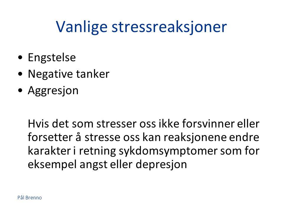 Pål Brenno Vanlige stressreaksjoner •Engstelse •Negative tanker •Aggresjon Hvis det som stresser oss ikke forsvinner eller forsetter å stresse oss kan