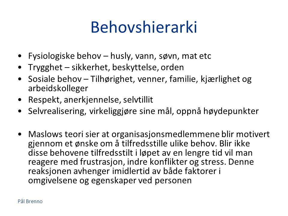 Pål Brenno Behovshierarki •Fysiologiske behov – husly, vann, søvn, mat etc •Trygghet – sikkerhet, beskyttelse, orden •Sosiale behov – Tilhørighet, ven