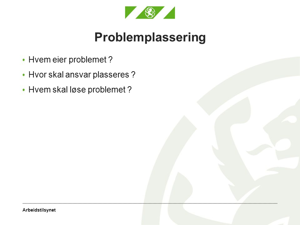 Arbeidstilsynet Problemplassering • Hvem eier problemet ? • Hvor skal ansvar plasseres ? • Hvem skal løse problemet ?